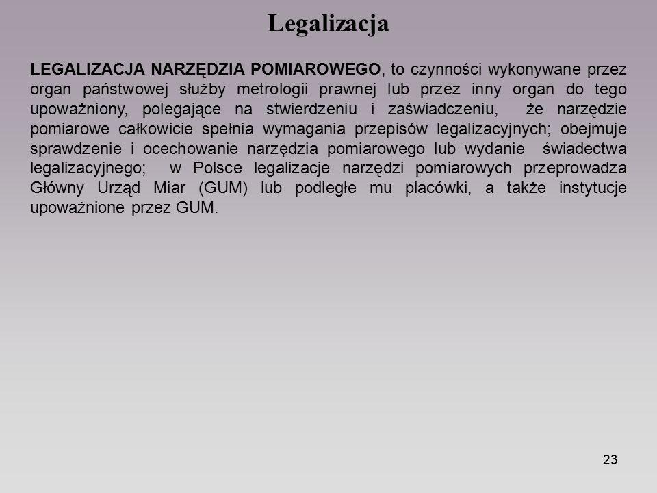 23 LEGALIZACJA NARZĘDZIA POMIAROWEGO, to czynności wykonywane przez organ państwowej służby metrologii prawnej lub przez inny organ do tego upoważnion