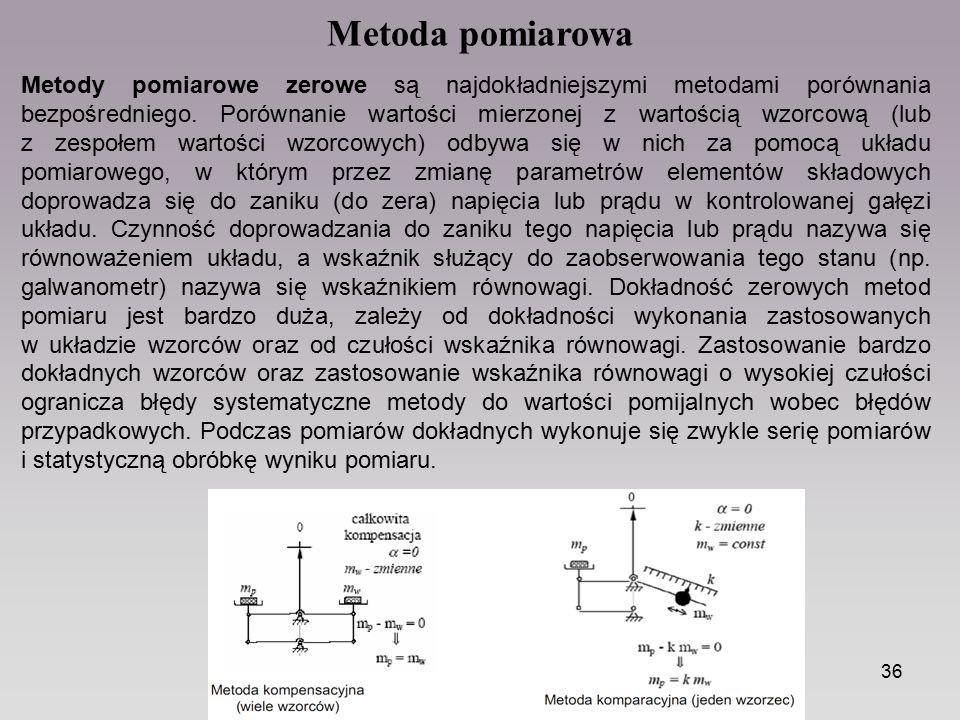 36 Metoda pomiarowa Metody pomiarowe zerowe są najdokładniejszymi metodami porównania bezpośredniego. Porównanie wartości mierzonej z wartością wzorco