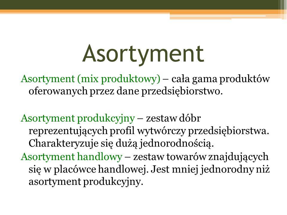 Asortyment Asortyment (mix produktowy) – cała gama produktów oferowanych przez dane przedsiębiorstwo.