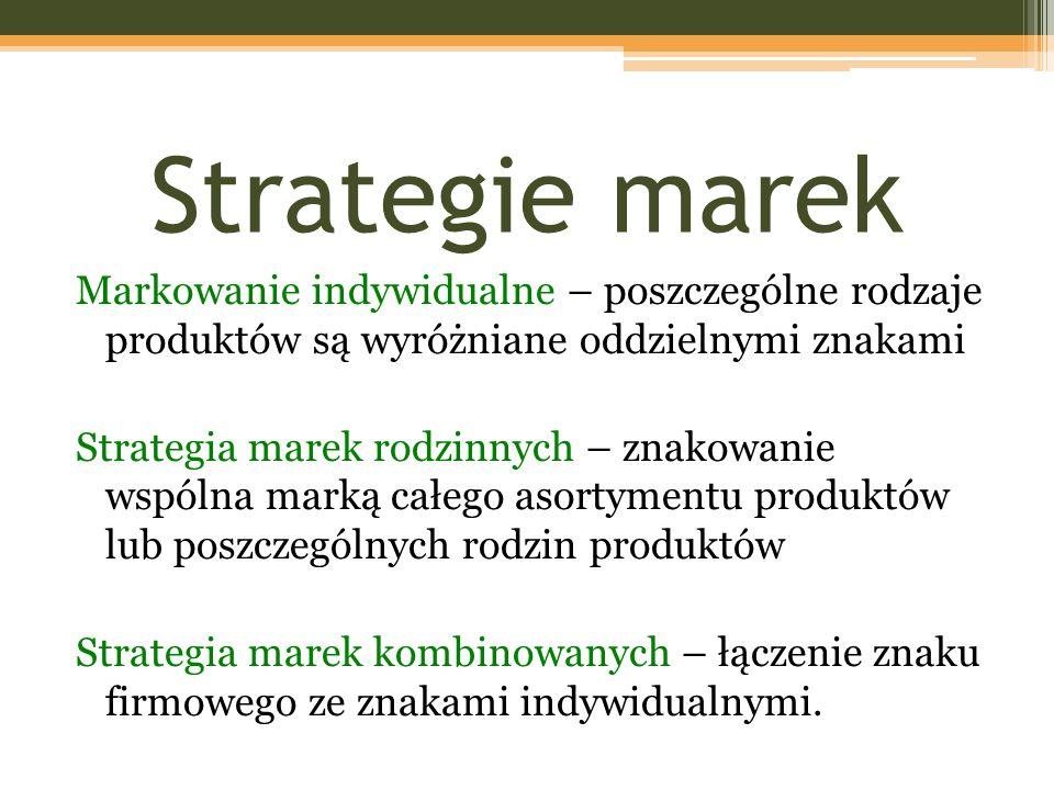 Strategie marek Markowanie indywidualne – poszczególne rodzaje produktów są wyróżniane oddzielnymi znakami Strategia marek rodzinnych – znakowanie wspólna marką całego asortymentu produktów lub poszczególnych rodzin produktów Strategia marek kombinowanych – łączenie znaku firmowego ze znakami indywidualnymi.