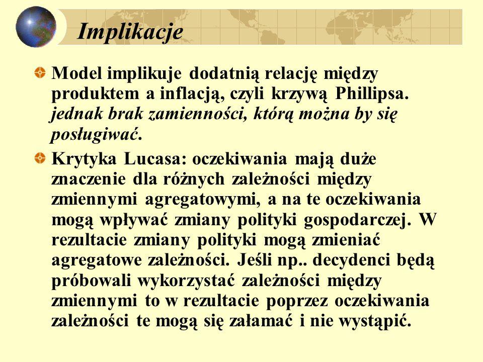 Implikacje Model implikuje dodatnią relację między produktem a inflacją, czyli krzywą Phillipsa.