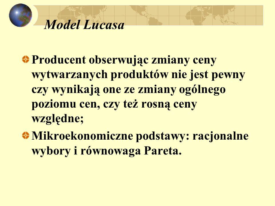 Model Lucasa Producent obserwując zmiany ceny wytwarzanych produktów nie jest pewny czy wynikają one ze zmiany ogólnego poziomu cen, czy też rosną ceny względne; Mikroekonomiczne podstawy: racjonalne wybory i równowaga Pareta.