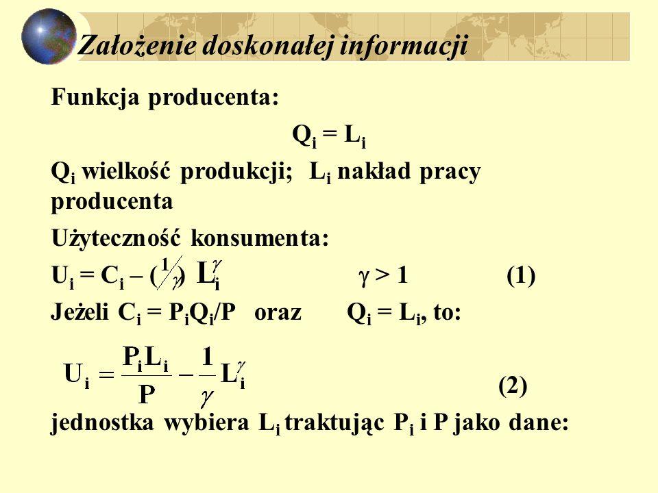 Założenie doskonałej informacji Funkcja producenta: Q i = L i Q i wielkość produkcji; L i nakład pracy producenta Użyteczność konsumenta: U i = C i – ( )  > 1 (1) Jeżeli C i = P i Q i /P oraz Q i = L i, to: (2) jednostka wybiera L i traktując P i i P jako dane: