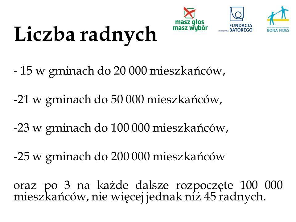 Liczba radnych - 15 w gminach do 20 000 mieszkańców, -21 w gminach do 50 000 mieszkańców, -23 w gminach do 100 000 mieszkańców, -25 w gminach do 200 0