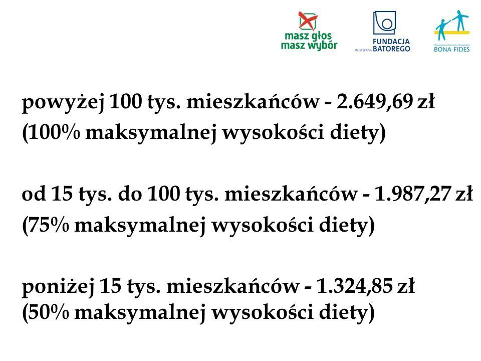 powyżej 100 tys. mieszkańców - 2.649,69 zł (100% maksymalnej wysokości diety) od 15 tys. do 100 tys. mieszkańców - 1.987,27 zł (75% maksymalnej wysoko