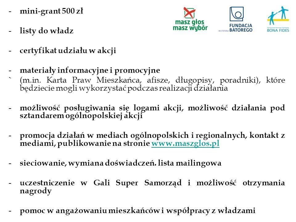 - mini-grant 500 zł - listy do władz - certyfikat udziału w akcji - materiały informacyjne i promocyjne ` (m.in. Karta Praw Mieszkańca, afisze, długop