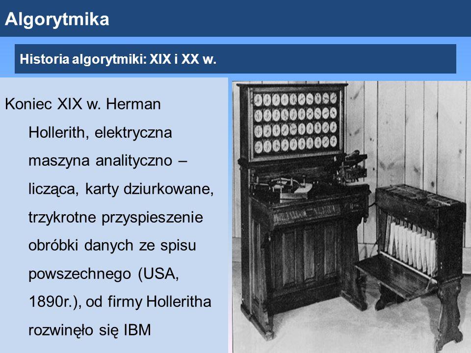 Algorytmika Koniec XIX w.