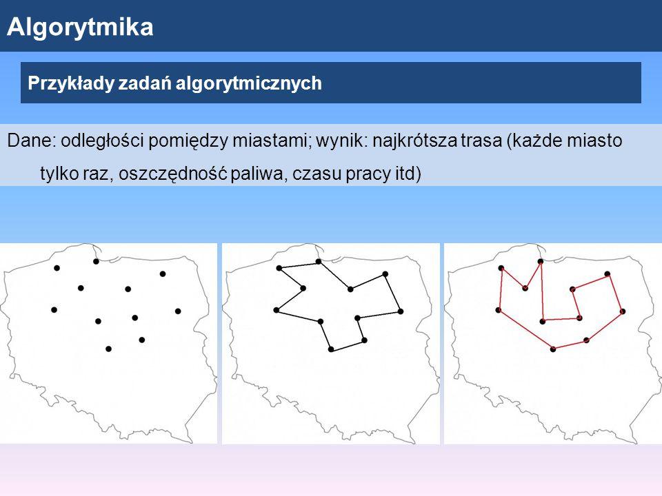 Algorytmika Przykłady zadań algorytmicznych Dane: odległości pomiędzy miastami; wynik: najkrótsza trasa (każde miasto tylko raz, oszczędność paliwa, czasu pracy itd)