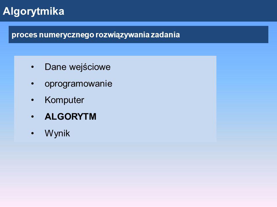Algorytmika Dane wejściowe oprogramowanie Komputer ALGORYTM Wynik proces numerycznego rozwiązywania zadania