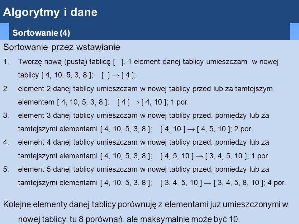 Algorytmy i dane Sortowanie (4) Sortowanie przez wstawianie 1.Tworzę nową (pustą) tablicę [ ], 1 element danej tablicy umieszczam w nowej tablicy [ 4, 10, 5, 3, 8 ]; [ ]  [ 4 ]; 2.element 2 danej tablicy umieszczam w nowej tablicy przed lub za tamtejszym elementem [ 4, 10, 5, 3, 8 ]; [ 4 ]  [ 4, 10 ]; 1 por.
