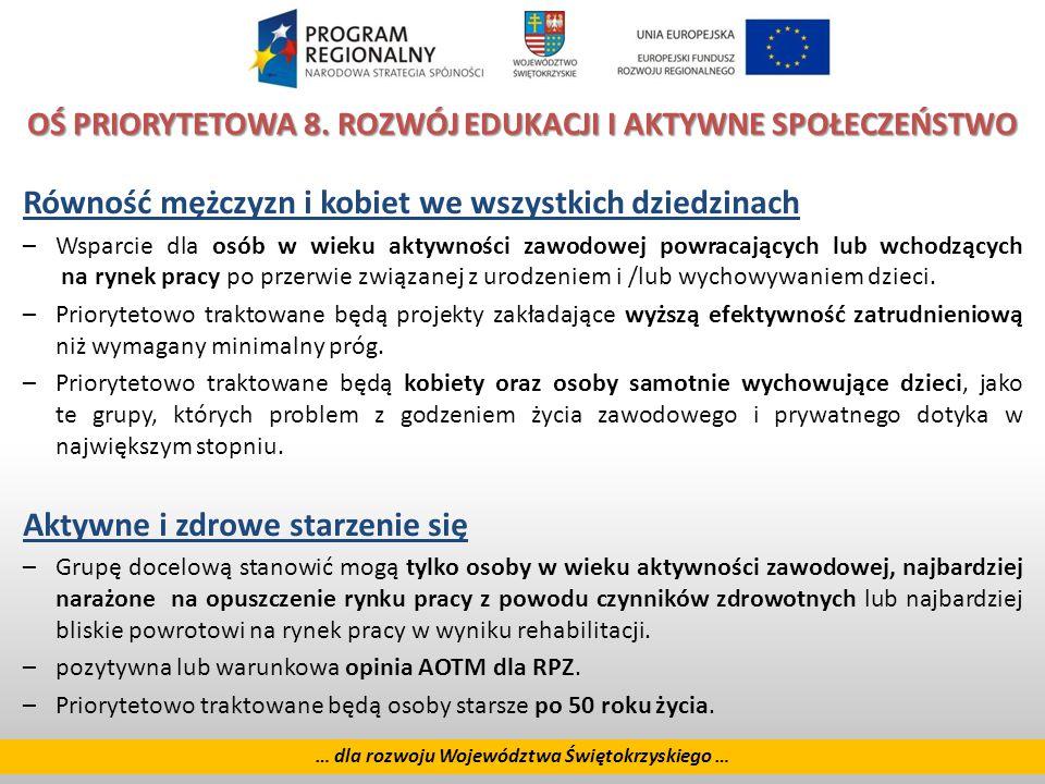 22 … dla rozwoju Województwa Świętokrzyskiego … OŚ PRIORYTETOWA 8.