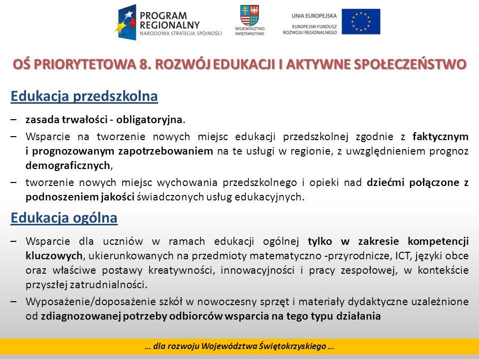 23 … dla rozwoju Województwa Świętokrzyskiego … OŚ PRIORYTETOWA 8.