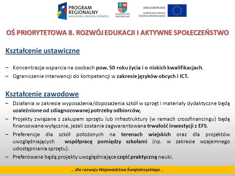 24 … dla rozwoju Województwa Świętokrzyskiego … OŚ PRIORYTETOWA 8.