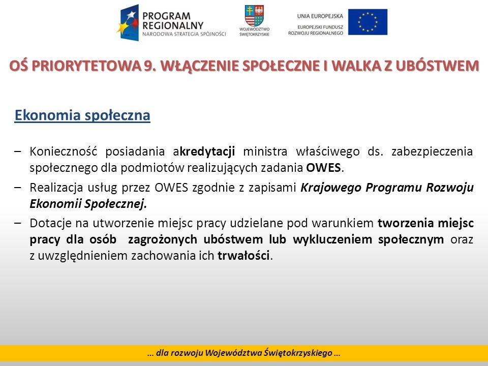 26 … dla rozwoju Województwa Świętokrzyskiego … OŚ PRIORYTETOWA 9.