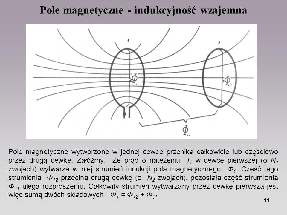 11 Pole magnetyczne - indukcyjność wzajemna Pole magnetyczne wytworzone w jednej cewce przenika całkowicie lub częściowo przez drugą cewkę. Załóżmy, Ż