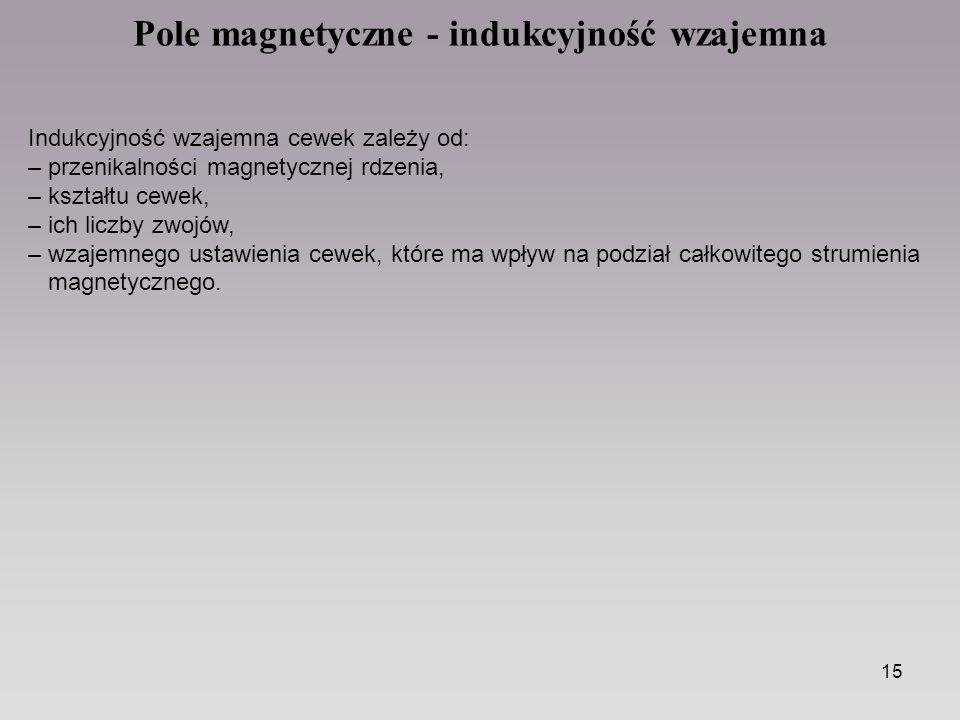 15 Pole magnetyczne - indukcyjność wzajemna Indukcyjność wzajemna cewek zależy od: – przenikalności magnetycznej rdzenia, – kształtu cewek, – ich licz