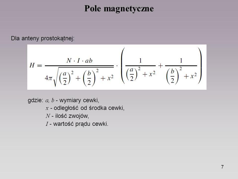 7 Pole magnetyczne Dla anteny prostokątnej: gdzie: a, b - wymiary cewki, x - odległość od środka cewki, N - ilość zwojów, I - wartość prądu cewki.