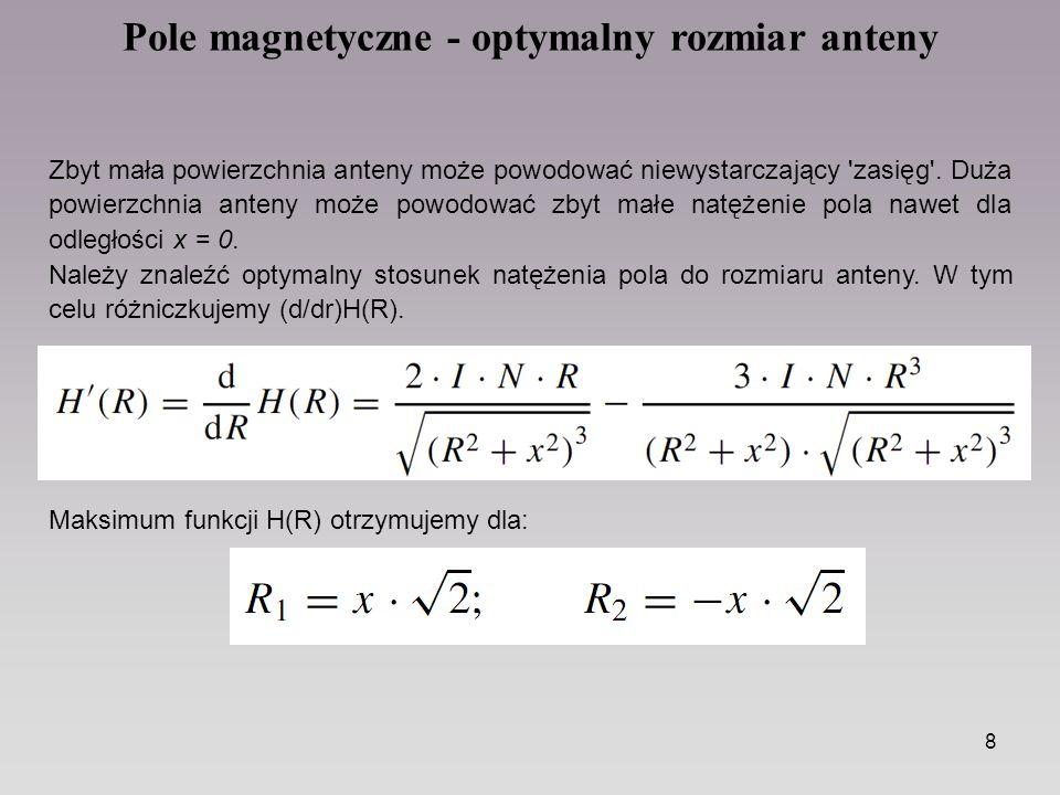 8 Pole magnetyczne - optymalny rozmiar anteny Zbyt mała powierzchnia anteny może powodować niewystarczający 'zasięg'. Duża powierzchnia anteny może po