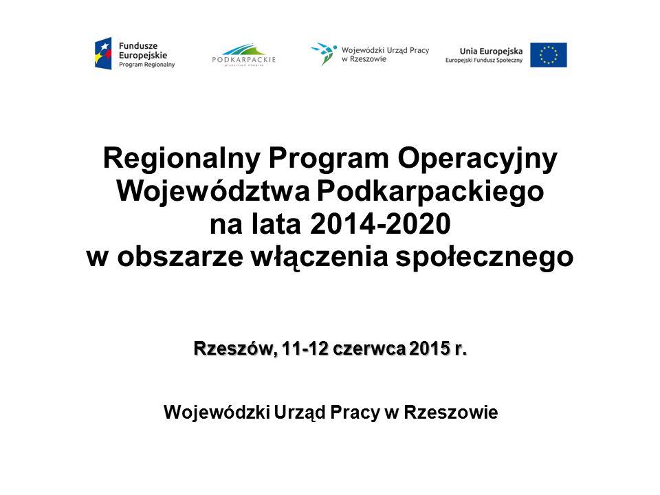 Rzeszów, 11-12 czerwca 2015 r. Regionalny Program Operacyjny Województwa Podkarpackiego na lata 2014-2020 w obszarze włączenia społecznego Rzeszów, 11