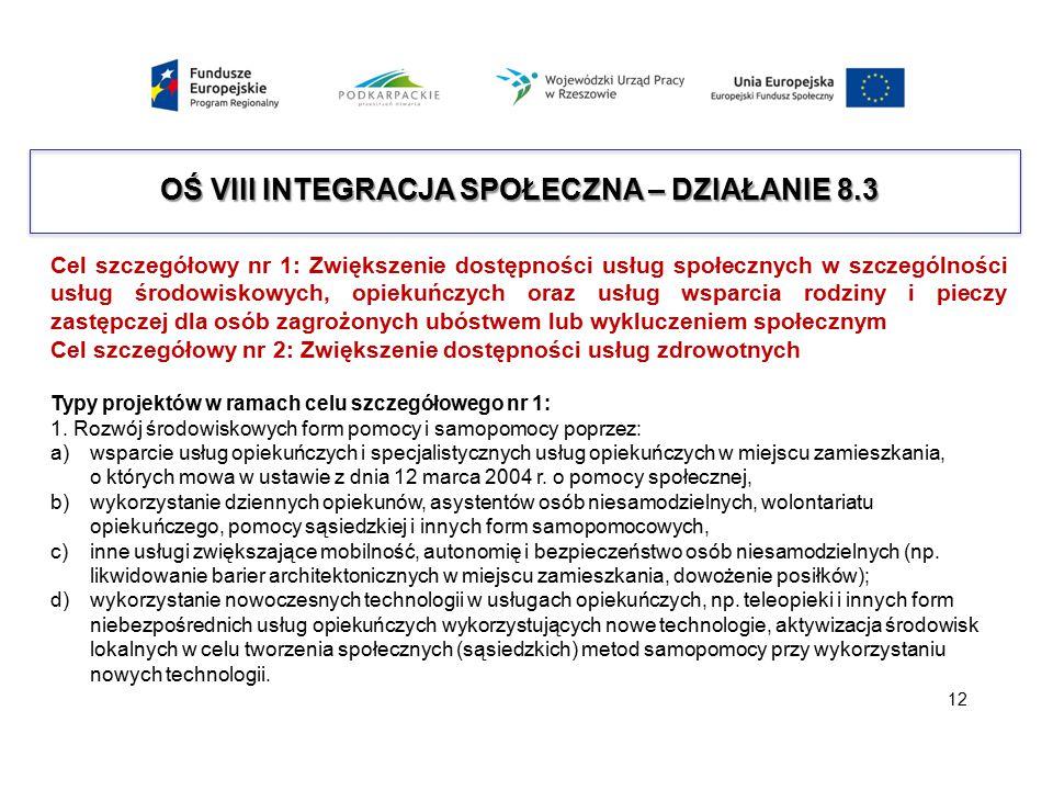 OŚ VIII INTEGRACJA SPOŁECZNA – DZIAŁANIE 8.3 Cel szczegółowy nr 1: Zwiększenie dostępności usług społecznych w szczególności usług środowiskowych, opi