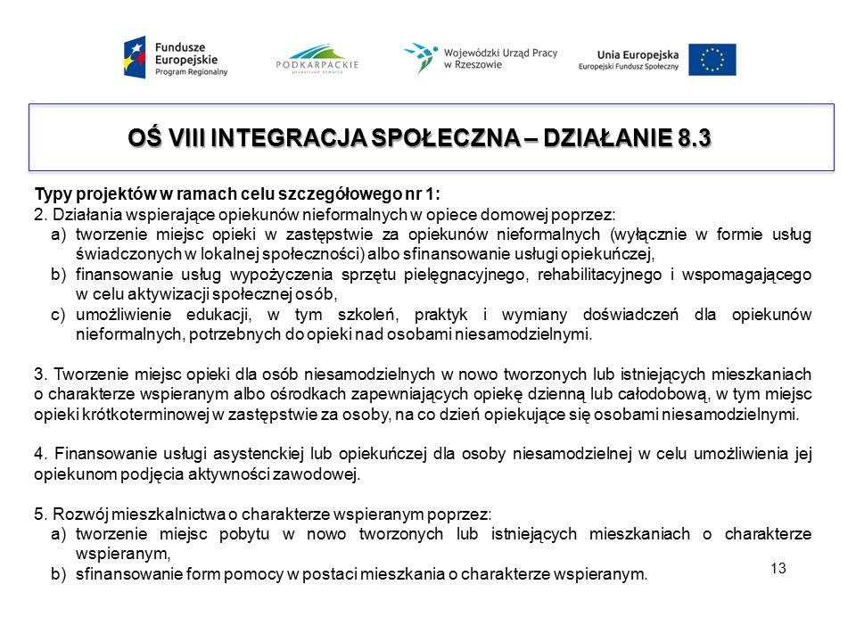 OŚ VIII INTEGRACJA SPOŁECZNA – DZIAŁANIE 8.3 Typy projektów w ramach celu szczegółowego nr 1: 2. Działania wspierające opiekunów nieformalnych w opiec