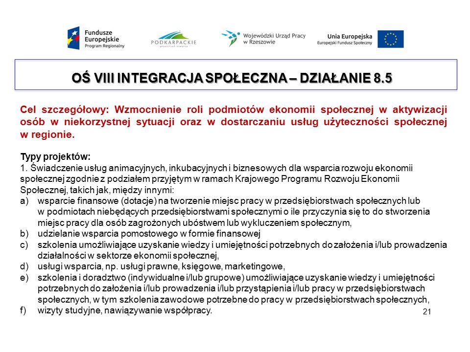 OŚ VIII INTEGRACJA SPOŁECZNA – DZIAŁANIE 8.5 Cel szczegółowy: Wzmocnienie roli podmiotów ekonomii społecznej w aktywizacji osób w niekorzystnej sytuac