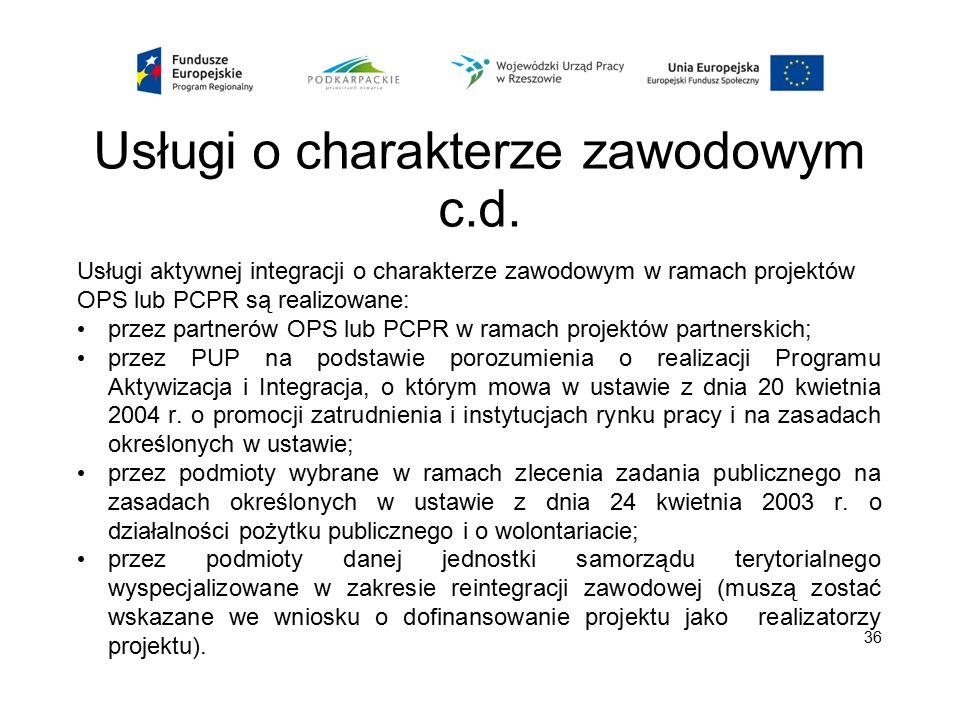 Usługi o charakterze zawodowym c.d. Usługi aktywnej integracji o charakterze zawodowym w ramach projektów OPS lub PCPR są realizowane: przez partnerów
