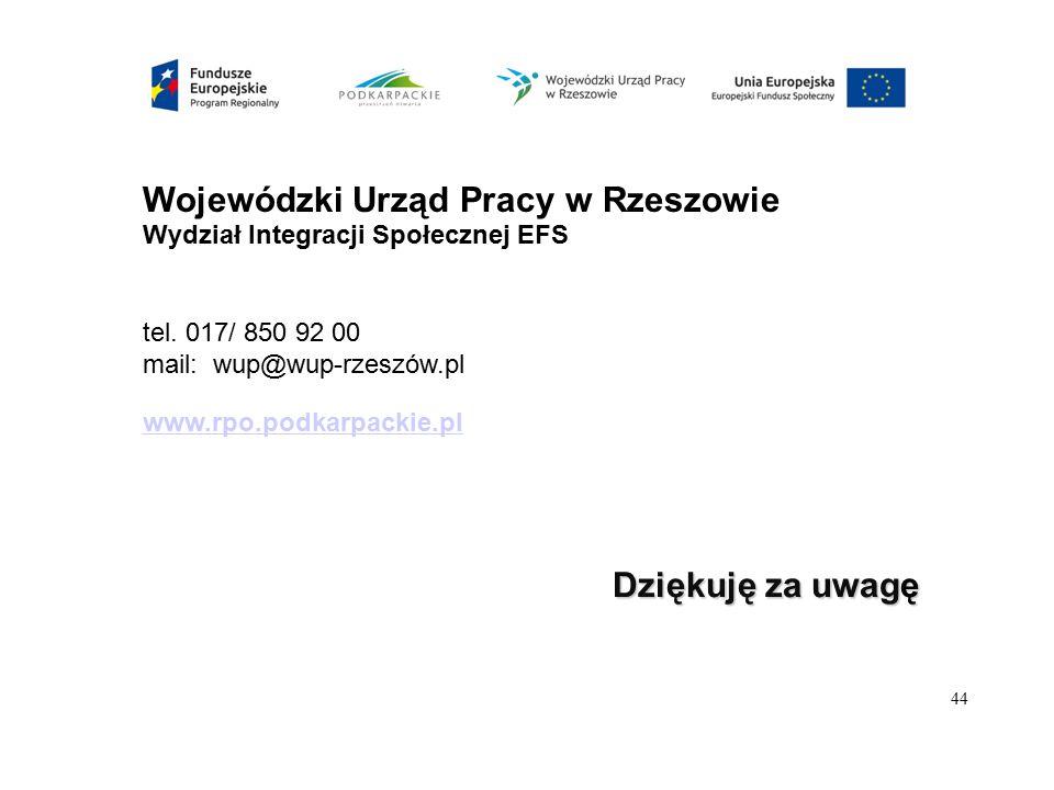 Wojewódzki Urząd Pracy w Rzeszowie Wydział Integracji Społecznej EFS tel. 017/ 850 92 00 mail: wup@wup-rzeszów.pl www.rpo.podkarpackie.pl Dziękuję za