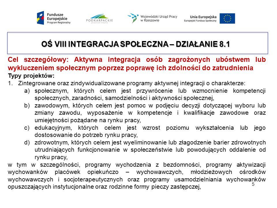 OŚ VIII INTEGRACJA SPOŁECZNA – DZIAŁANIE 8.1 Cel szczegółowy: Aktywna integracja osób zagrożonych ubóstwem lub wykluczeniem społecznym poprzez poprawę