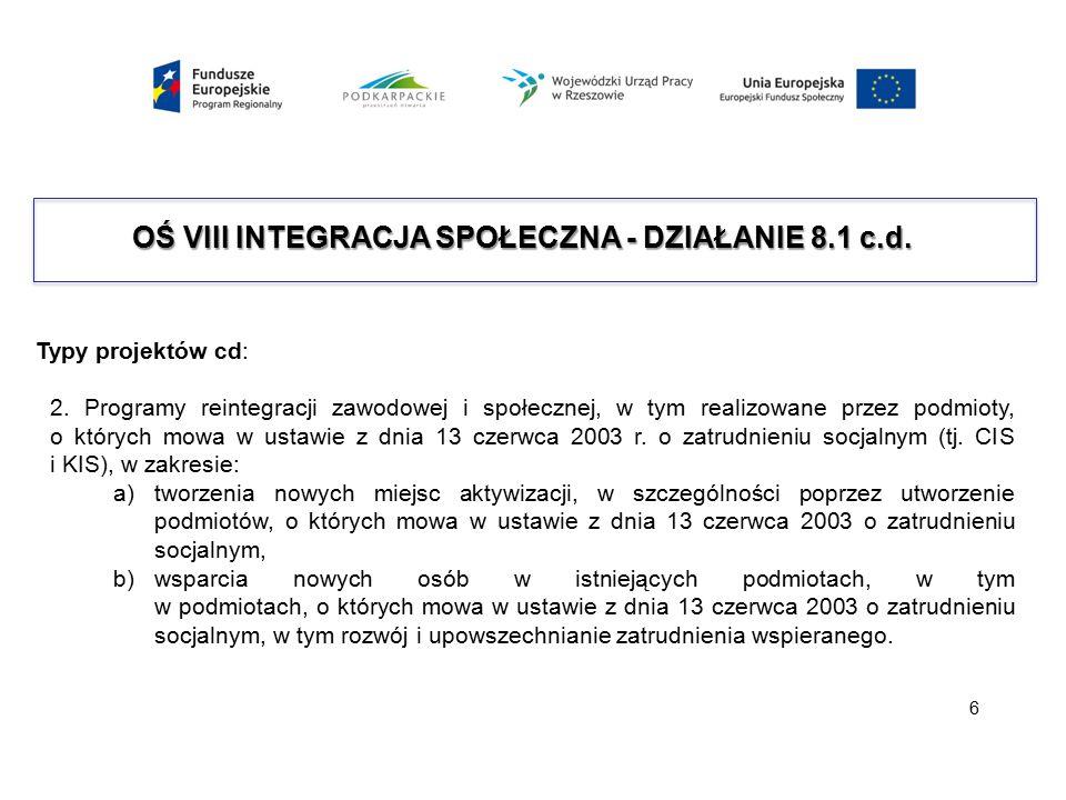 OŚ VIII INTEGRACJA SPOŁECZNA - DZIAŁANIE 8.1 c.d. Typy projektów cd: 2. Programy reintegracji zawodowej i społecznej, w tym realizowane przez podmioty