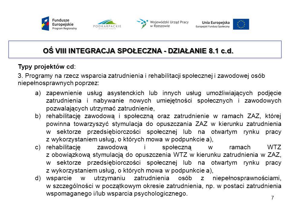 Typy projektów cd: 3. Programy na rzecz wsparcia zatrudnienia i rehabilitacji społecznej i zawodowej osób niepełnosprawnych poprzez: a)zapewnienie usł