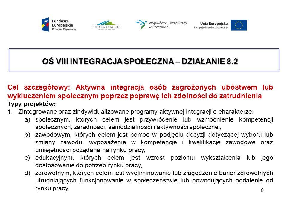 OŚ VIII INTEGRACJA SPOŁECZNA – DZIAŁANIE 8.2 Cel szczegółowy: Aktywna integracja osób zagrożonych ubóstwem lub wykluczeniem społecznym poprzez poprawę