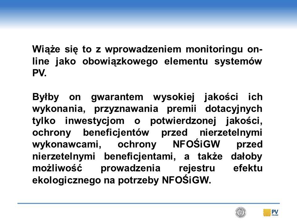 Wiąże się to z wprowadzeniem monitoringu on- line jako obowiązkowego elementu systemów PV.