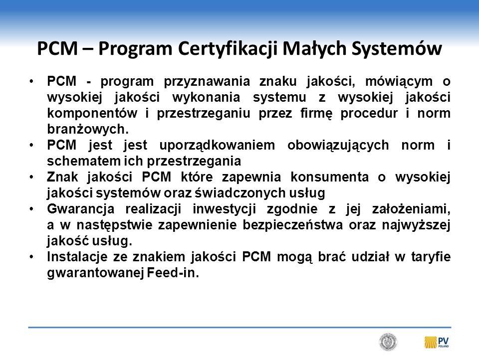 PCM – Program Certyfikacji Małych Systemów PCM - program przyznawania znaku jakości, mówiącym o wysokiej jakości wykonania systemu z wysokiej jakości komponentów i przestrzeganiu przez firmę procedur i norm branżowych.