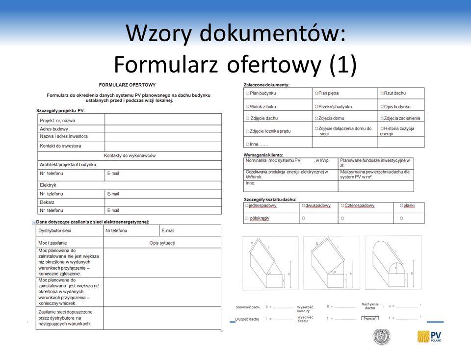 Wzory dokumentów: Formularz ofertowy (1)
