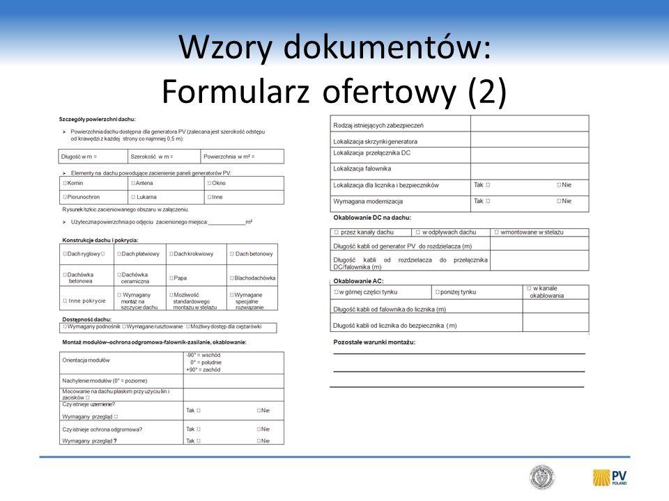 Wzory dokumentów: Formularz ofertowy (2)