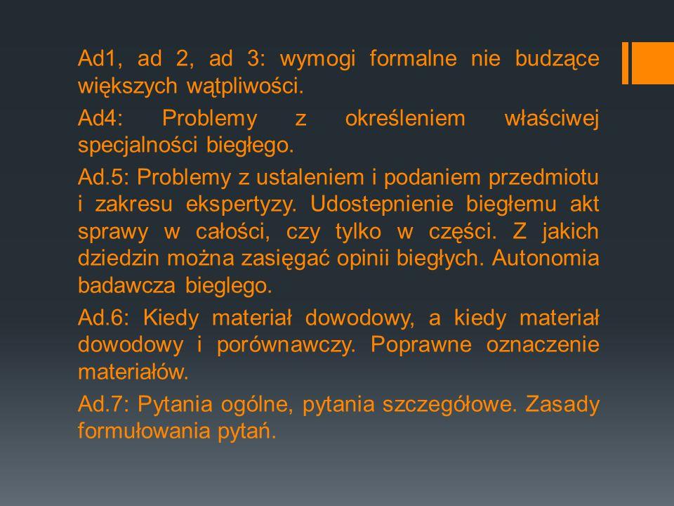 Ad1, ad 2, ad 3: wymogi formalne nie budzące większych wątpliwości. Ad4: Problemy z określeniem właściwej specjalności biegłego. Ad.5: Problemy z usta
