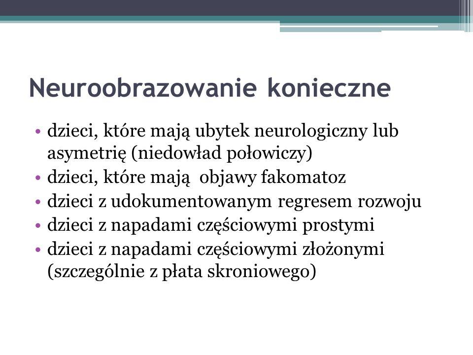 Neuroobrazowanie konieczne dzieci, które mają ubytek neurologiczny lub asymetrię (niedowład połowiczy) dzieci, które mają objawy fakomatoz dzieci z ud