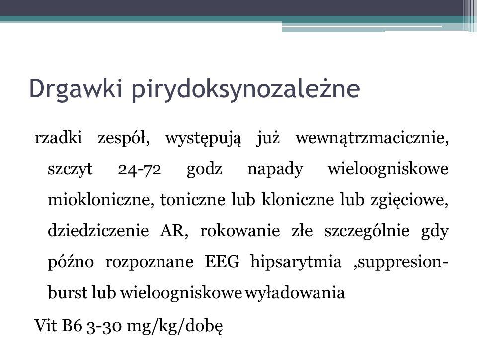 Drgawki pirydoksynozależne rzadki zespół, występują już wewnątrzmacicznie, szczyt 24-72 godz napady wieloogniskowe miokloniczne, toniczne lub kloniczn