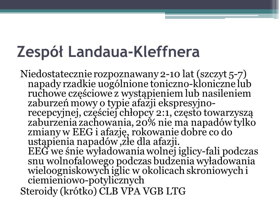 Zespół Landaua-Kleffnera Niedostatecznie rozpoznawany 2-10 lat (szczyt 5-7) napady rzadkie uogólnione toniczno-kloniczne lub ruchowe częściowe z wystą