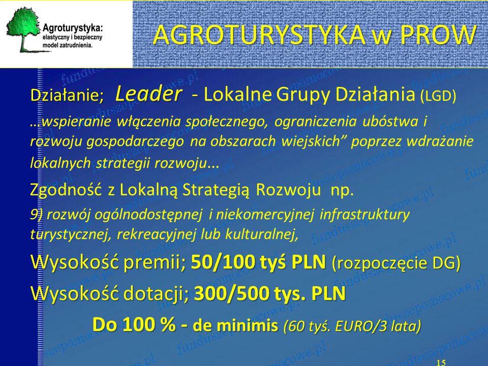AGROTURYSTYKA w PROW Działanie; Leader - Działanie; Leader - Lokalne Grupy Działania (LGD) …wspieranie włączenia społecznego, ograniczenia ubóstwa i rozwoju gospodarczego na obszarach wiejskich poprzez wdrażanie lokalnych strategii rozwoju … Zgodność z Lokalną Strategią Rozwoju np.