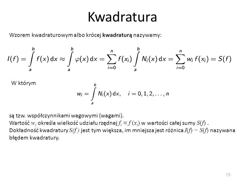 Kwadratura 13 Wzorem kwadraturowym albo krócej kwadraturą nazywamy: W którym są tzw. współczynnikami wagowymi (wagami). Wartość w i określa wielkość u