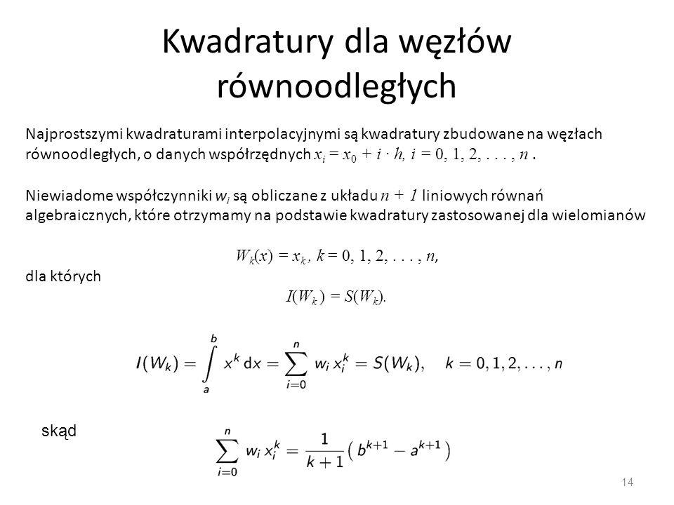 Kwadratury dla węzłów równoodległych 14 Najprostszymi kwadraturami interpolacyjnymi są kwadratury zbudowane na węzłach równoodległych, o danych współrzędnych x i = x 0 + i · h, i = 0, 1, 2,..., n.