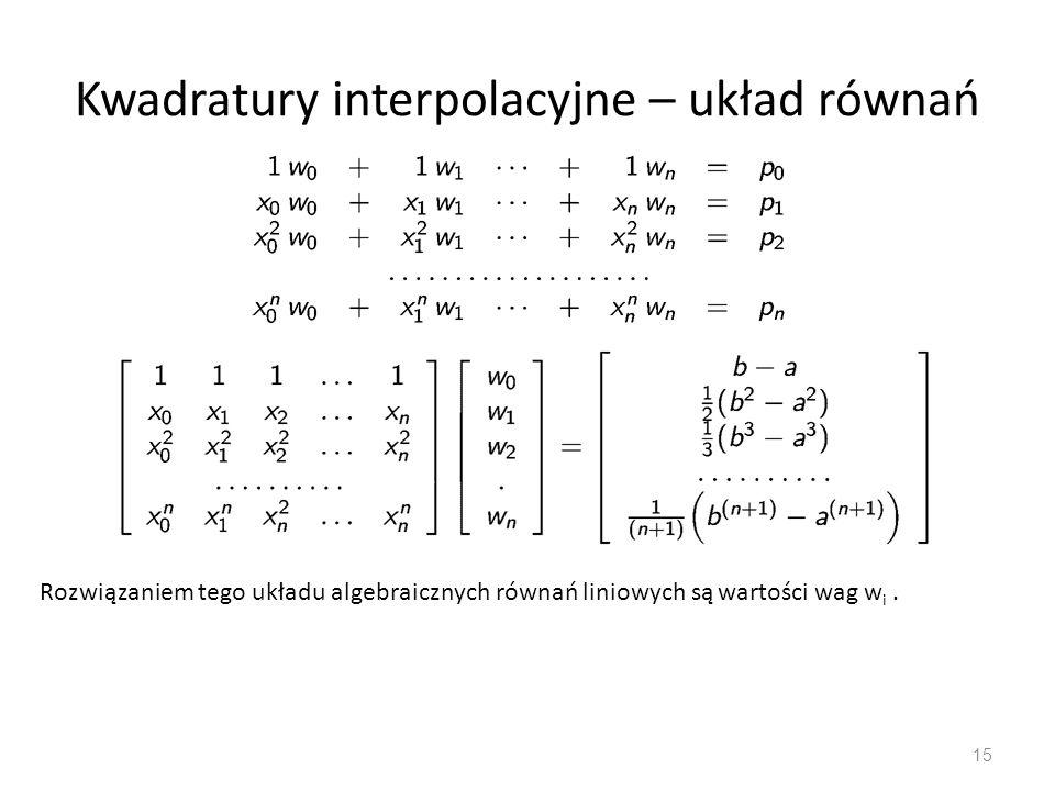 Kwadratury interpolacyjne – układ równań 15 Rozwiązaniem tego układu algebraicznych równań liniowych są wartości wag w i.