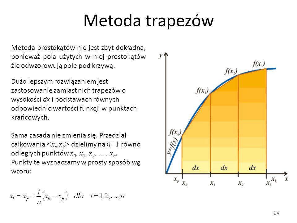 Metoda trapezów 24 Metoda prostokątów nie jest zbyt dokładna, ponieważ pola użytych w niej prostokątów źle odwzorowują pole pod krzywą. Dużo lepszym r