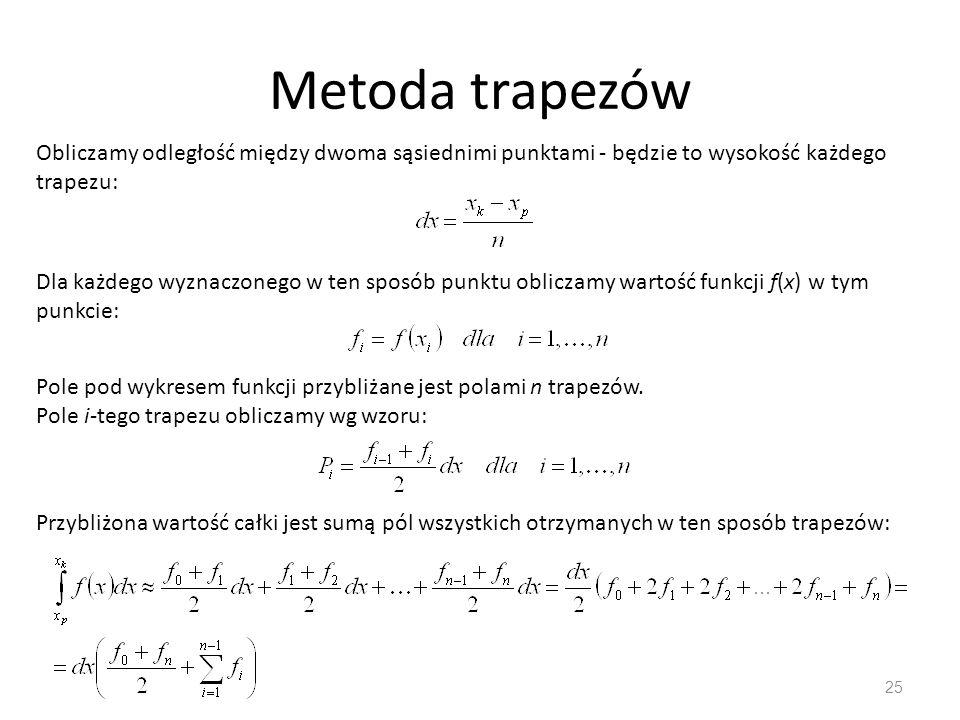 Metoda trapezów 25 Obliczamy odległość między dwoma sąsiednimi punktami - będzie to wysokość każdego trapezu: Dla każdego wyznaczonego w ten sposób punktu obliczamy wartość funkcji f(x) w tym punkcie: Pole pod wykresem funkcji przybliżane jest polami n trapezów.