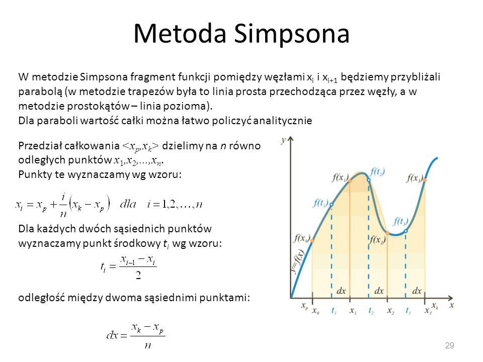 Metoda Simpsona 29 W metodzie Simpsona fragment funkcji pomiędzy węzłami x i i x i+1 będziemy przybliżali parabolą (w metodzie trapezów była to linia prosta przechodząca przez węzły, a w metodzie prostokątów – linia pozioma).