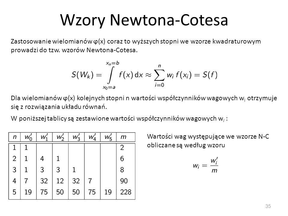 Wzory Newtona-Cotesa 35 Zastosowanie wielomianów ϕ(x) coraz to wyższych stopni we wzorze kwadraturowym prowadzi do tzw. wzorów Newtona-Cotesa. Dla wie