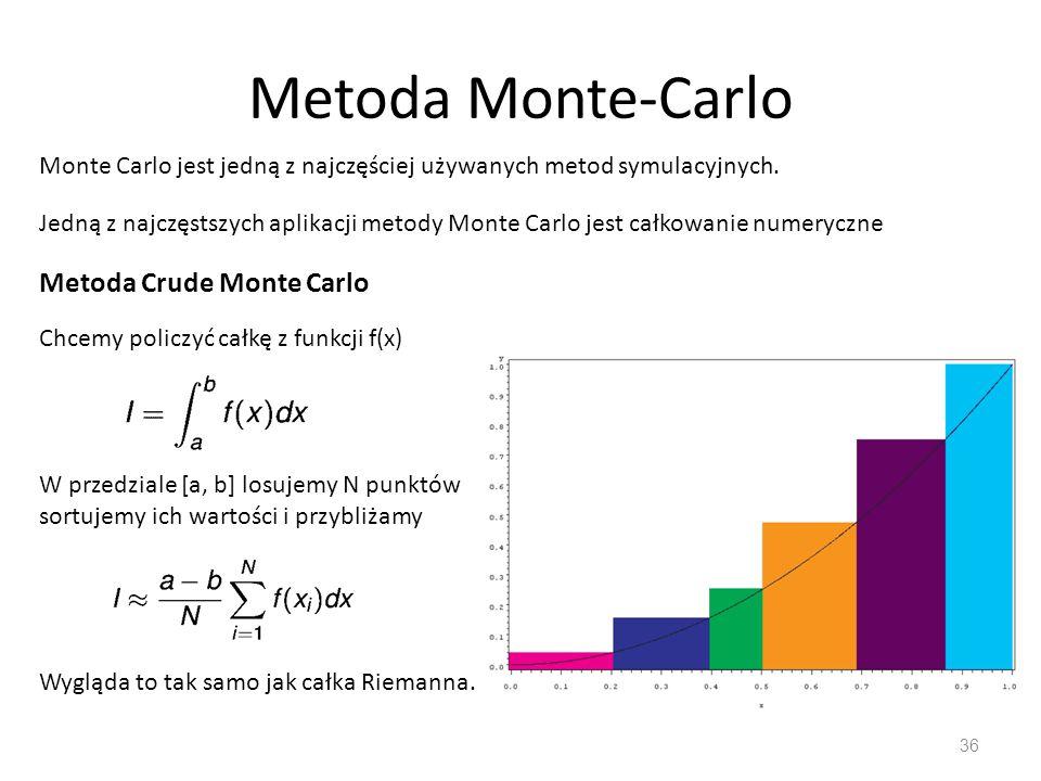 Metoda Monte-Carlo 36 Monte Carlo jest jedną z najczęściej używanych metod symulacyjnych. Jedną z najczęstszych aplikacji metody Monte Carlo jest całk