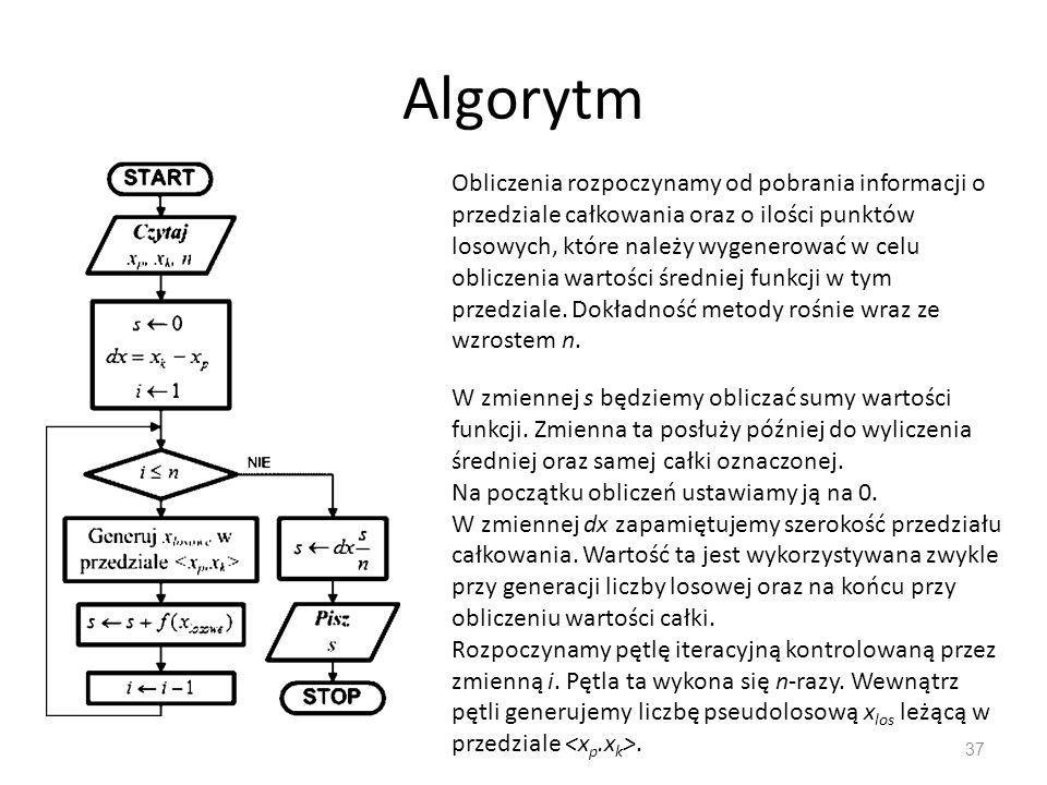 Algorytm 37 Obliczenia rozpoczynamy od pobrania informacji o przedziale całkowania oraz o ilości punktów losowych, które należy wygenerować w celu obl